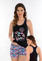 Женская летняя пижама. Облегающие шорты и майка-борцовка Onurel 924