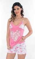 Нежная женская пижама в цветочек в розово-белых тонах Onurel 918