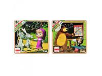 Деревянная игрушка Пазлы Маша и Медведь GT6018, 8 деталей