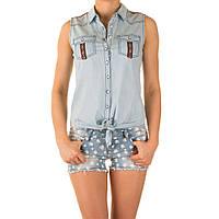 """Женская джинсовая блуза """"Джан"""" L.blue"""