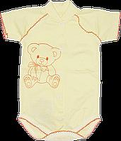 Детский боди-футболка с принтом, на кнопках, хлопок (мультирипп), ТМ Ромашка, р. 74, 80, 86, Украина
