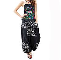 Женские льняные брюки в этностиле