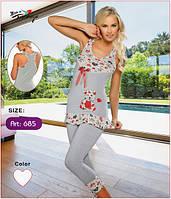 Женский домашний костюм/пижама - туника, облегающие бриджи Onurel 685