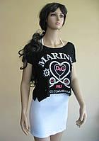 Летний черно-белый комплект: мини-платье и укороченная футболка-накидка