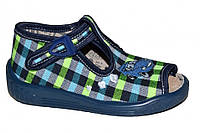 Детские летние сандалии для мальчика с застёжкой (Синие в клетку с машинкой)