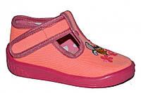 Детские летние туфельки для девочки на липучке (Розовые с пчёлкой)