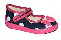 Детские летние тапочки для девочки (Чёрные в горох с бантом)