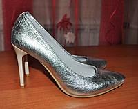 Туфли лодочка серебро