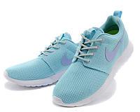 Женские кроссовки Nike Roshe Run голубые / сетка текстиль