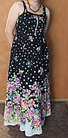 Шикарный хлопковый длинный сарафан черного цвета горох в цветах, размер 44-48
