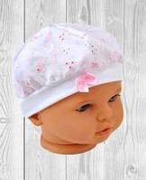 Детская шапка БЕРЕТ для новорожденного кружевная 0-12мес