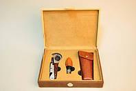 Набор для вина из 3 предметов:штопор-орехокол, деревянная пробка, чехол для штопора в подарочном футляре