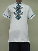 Мужская вышиванка с коротким рукавом Оберег синий орнамент