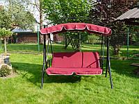 Садовая разкладная качеля MIAMI бордовая, с козырьком