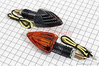 """Поворот """"стрела"""" на мототехнику, карбон. (оранжевое стекло), пара 5514"""
