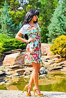 Короткое платье с ярким цветочным узором, Материал: креп-шифон (стрейч), сетка