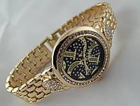 Стильные женские часы Gucci - цвет золото, черный циферблат