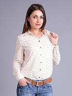 Рубашка женская, хлопок, с неоновым оранжевым принтом, 44-52 р-ры