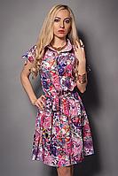 Модное женское платье-рубашка с оригинальной расцветкой