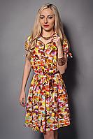 Легкое летнее платье рубашка с поясом модного кроя