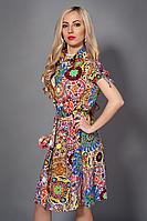 Стильное молодежное платье рубашка с поясом модного цвета на лето