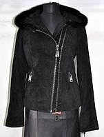 Куртка замшевая на молнии косуха длина 55см+норка на капюш 44р 46р 48р