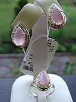 Набор серебряный с натуральным розовым улекситом