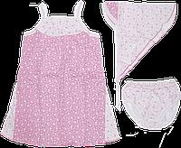 Детский летний сарафан + косынка + трусики, хлопок (кулир-пинье), ТМ Ромашка, р. 86, 92, 98, 104, Украина