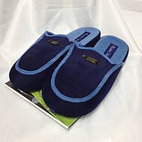 Синие мужские домашние тапочки на анатомической подошве, Цвет: синий, размер 41