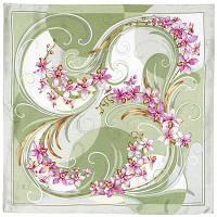 """Платок шелковый Павлопосадский (жаккард) """"Танцующие орхидеи"""" размер 84х84 см. рис.1444-4"""