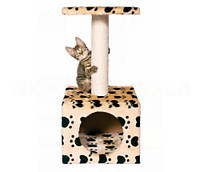 Когтеточка с домиком для кошки бежевая с лапками Trixie ZAMORA