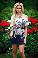 Женское красивое короткое летнее платье с узором
