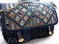 Женская джинсовая  сумка с цветными камнями