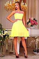 Женское короткое летнее платье из шифона Цвета в наличии Желтое
