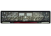 Рамка для номерного знака пластик/GUARD/Black/отражатель Red 123