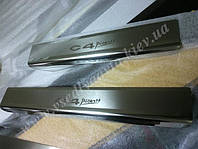 Защита порогов - накладки на пороги Citroen C4 PICASSO с 2006-  (Premium)