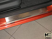 Защита порогов - накладки на пороги Skoda FABIA II с 2007 г. (Premium)