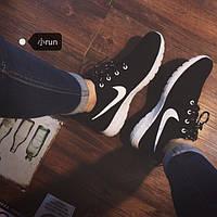 Кроссовки женские Nike Roshe Run черный цвет искусственная замша копия