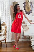 Платье Красное с камнями БАТАЛ