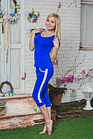 Костюм женский футболка с бриджами синий, фото 1