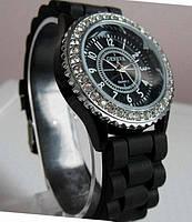 Женские часы GENEVA ЖЕНЕВА черные с камешками LUXURY(Люксури)