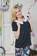 Блуза женская шифон черная, фото 1