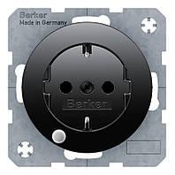 Розетка с з/к и контрольной лампой 16А/250В Berker R.1/R.3 Чёрный (41102045)