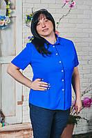 Блуза женская шифон больших размеров электрик, фото 1