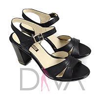 Черные босоножки на каблуке женские кожаные - купить в интернет магазине оптом Арт.1404black