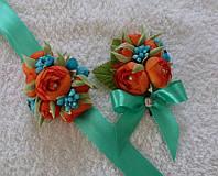Набор бутоньерок и бирюзово-коралловом цвете