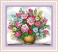 """Вышивка крестиком со схемой и нитками """"Цветочная ваза"""""""