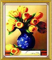 """Набор для вышивки """"Желтые тюльпаны в вазе"""" 3Д"""