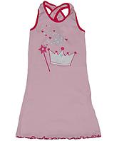 Детское легкое платье (сарафан) для девочки с короной и волшебной палочкой рощовое