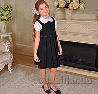 Школьный cарафан с репсовой лентой Милана С-02105 черный 32 (Р-134, ОГ-68, ОТ-60)